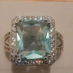 Aquamarine gemstone ring size 7 brand new